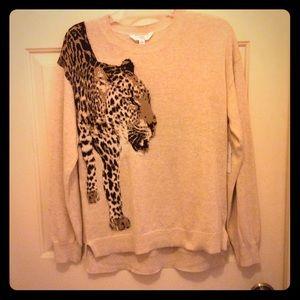 New Time & Tru beige Cheetah back front M sweater